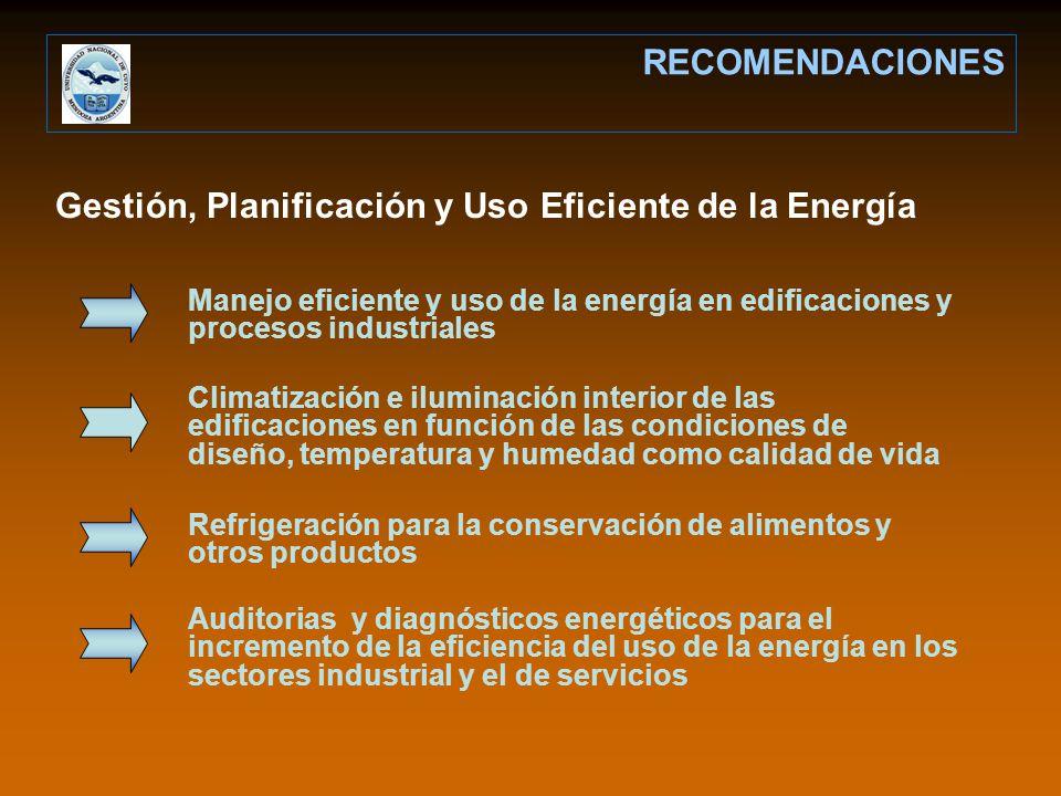 Gestión, Planificación y Uso Eficiente de la Energía RECOMENDACIONES Manejo eficiente y uso de la energía en edificaciones y procesos industriales Cli