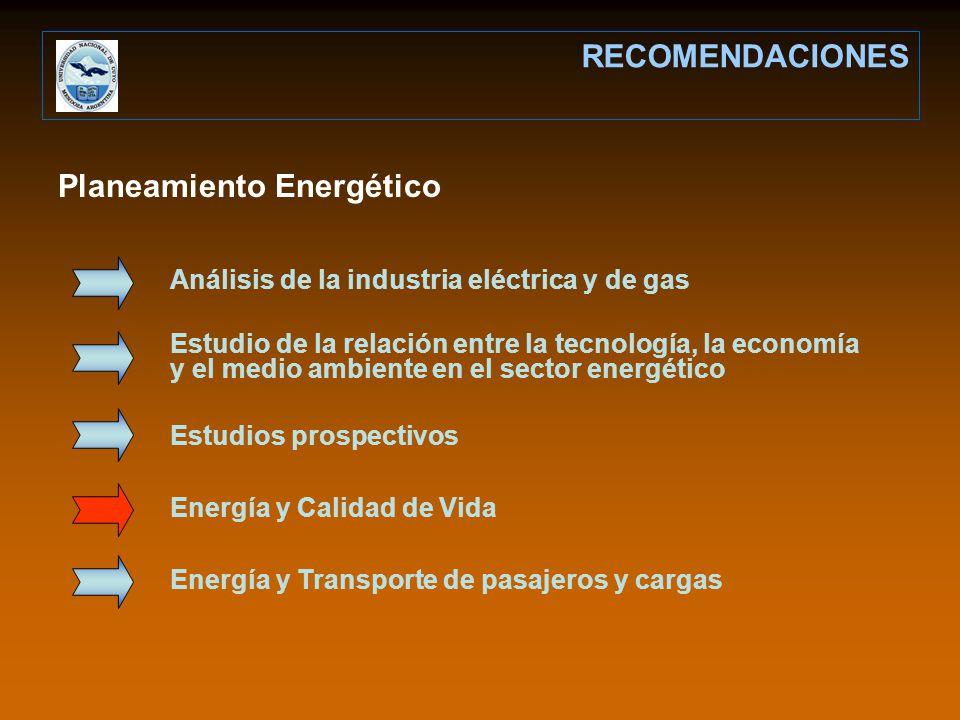 Planeamiento Energético RECOMENDACIONES Análisis de la industria eléctrica y de gas Estudio de la relación entre la tecnología, la economía y el medio ambiente en el sector energético Estudios prospectivos Energía y Calidad de Vida Energía y Transporte de pasajeros y cargas