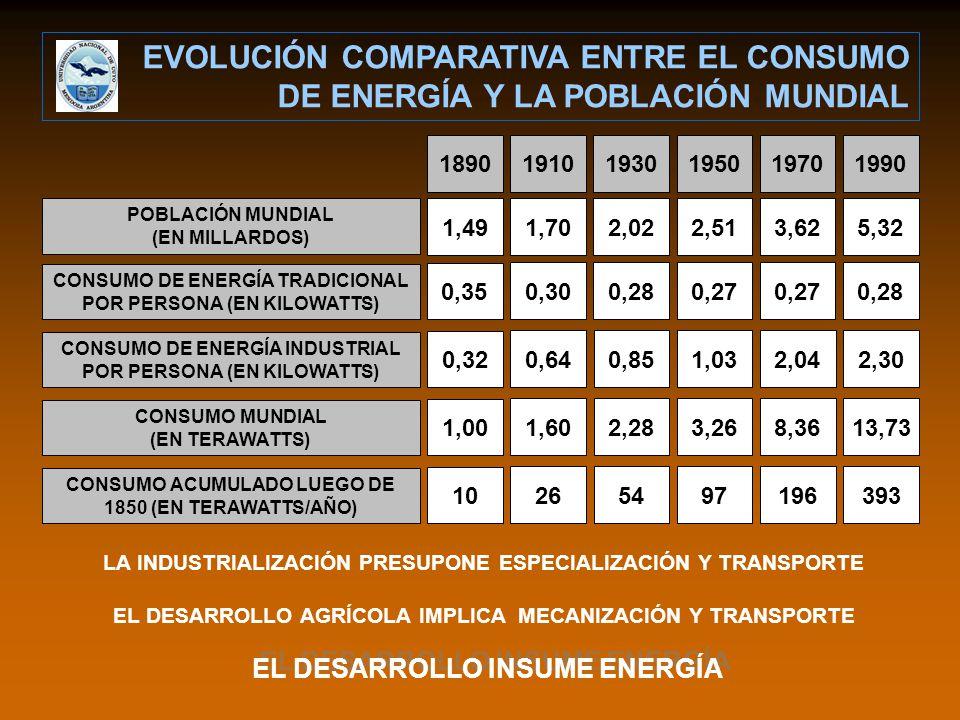 POBLACIÓN MUNDIAL (EN MILLARDOS) CONSUMO DE ENERGÍA TRADICIONAL POR PERSONA (EN KILOWATTS) CONSUMO DE ENERGÍA INDUSTRIAL POR PERSONA (EN KILOWATTS) CONSUMO MUNDIAL (EN TERAWATTS) CONSUMO ACUMULADO LUEGO DE 1850 (EN TERAWATTS/AÑO) 1,491,702,022,513,625,320,350,300,280,27 0,280,320,640,851,032,042,301,001,602,283,268,3613,7310265497196393 189019101930195019701990 LA INDUSTRIALIZACIÓN PRESUPONE ESPECIALIZACIÓN Y TRANSPORTE EL DESARROLLO AGRÍCOLA IMPLICA MECANIZACIÓN Y TRANSPORTE EVOLUCIÓN COMPARATIVA ENTRE EL CONSUMO DE ENERGÍA Y LA POBLACIÓN MUNDIAL EL DESARROLLO INSUME ENERGÍA