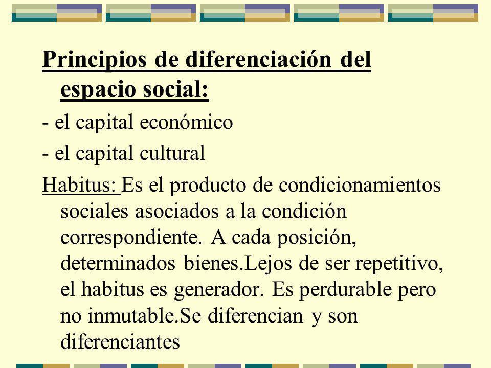 Principios de diferenciación del espacio social: - el capital económico - el capital cultural Habitus: Es el producto de condicionamientos sociales asociados a la condición correspondiente.