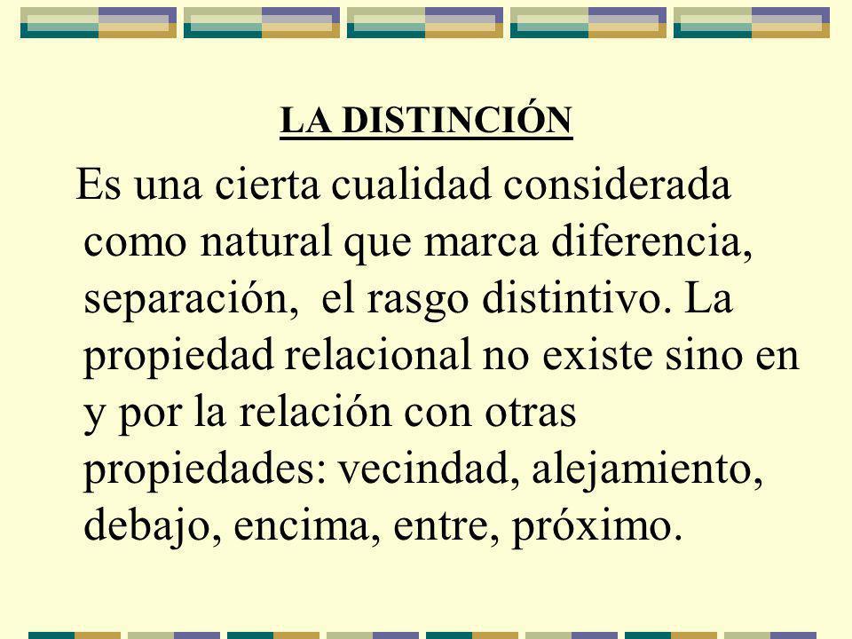 LA DISTINCIÓN Es una cierta cualidad considerada como natural que marca diferencia, separación, el rasgo distintivo.