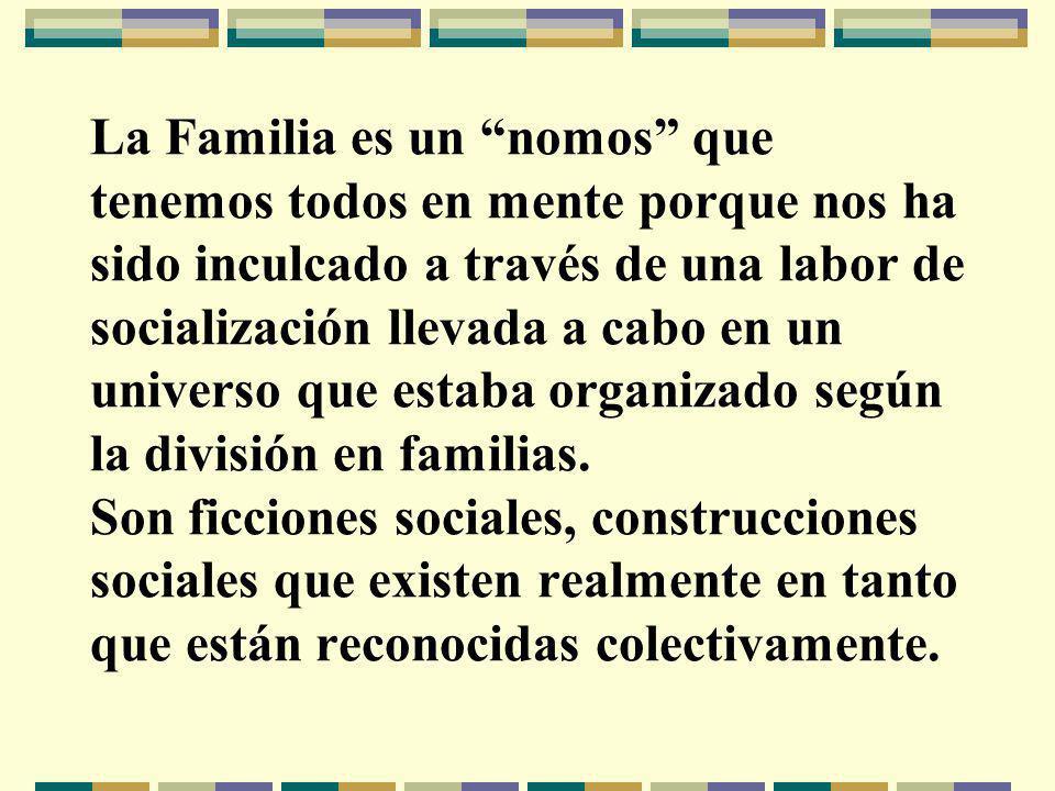 La Familia es un nomos que tenemos todos en mente porque nos ha sido inculcado a través de una labor de socialización llevada a cabo en un universo que estaba organizado según la división en familias.