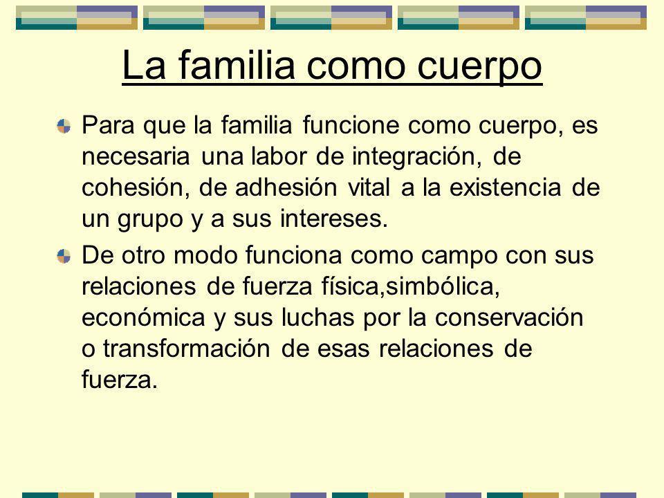 La familia como cuerpo Para que la familia funcione como cuerpo, es necesaria una labor de integración, de cohesión, de adhesión vital a la existencia de un grupo y a sus intereses.