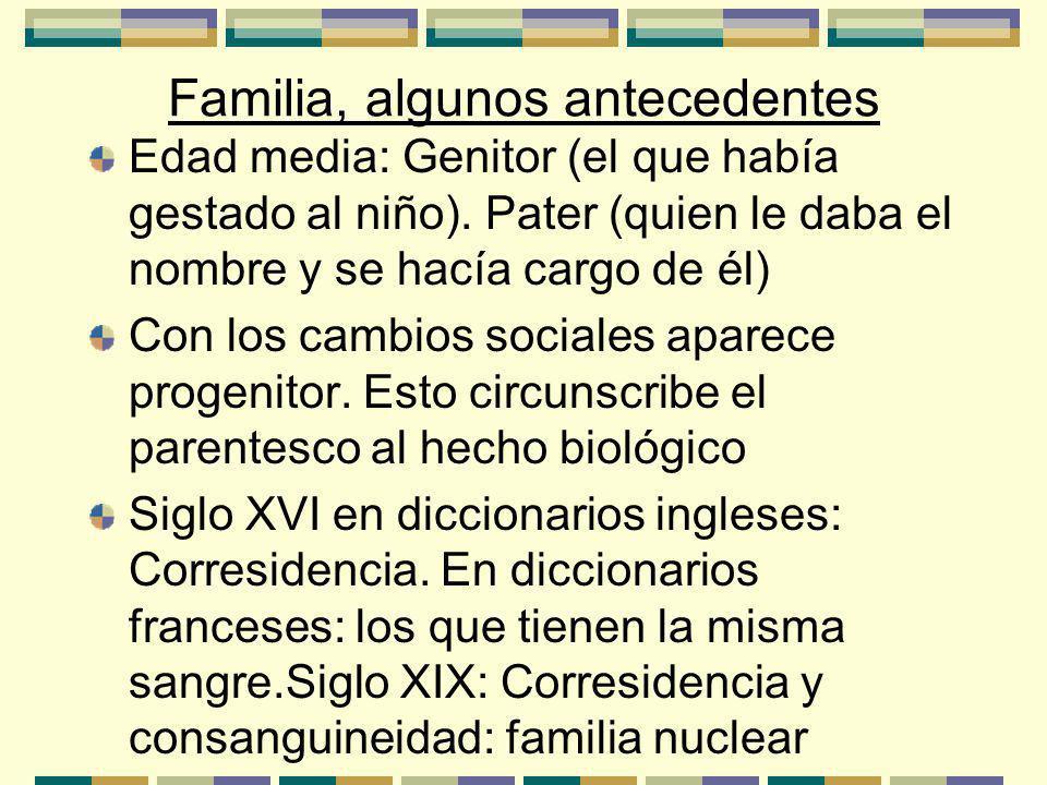 Familia, algunos antecedentes Edad media: Genitor (el que había gestado al niño).