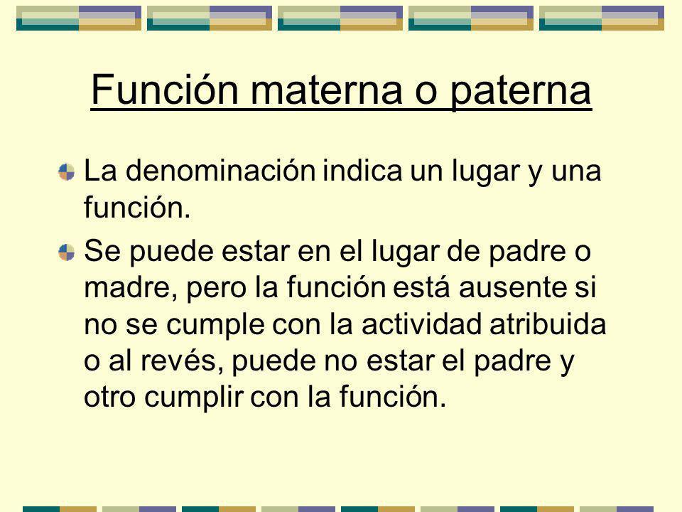 Función materna o paterna La denominación indica un lugar y una función.