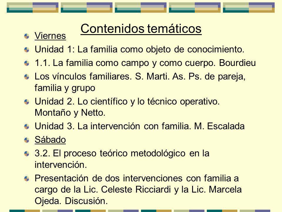Contenidos temáticos Viernes Unidad 1: La familia como objeto de conocimiento.