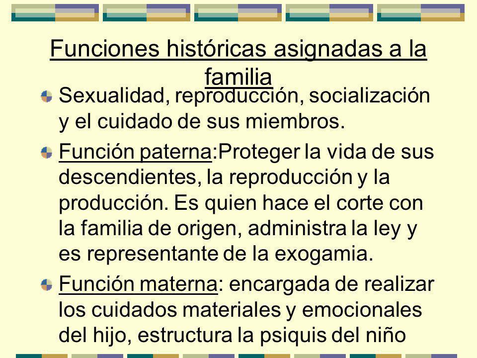 Funciones históricas asignadas a la familia Sexualidad, reproducción, socialización y el cuidado de sus miembros.