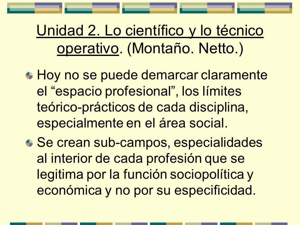Unidad 2.Lo científico y lo técnico operativo. (Montaño.