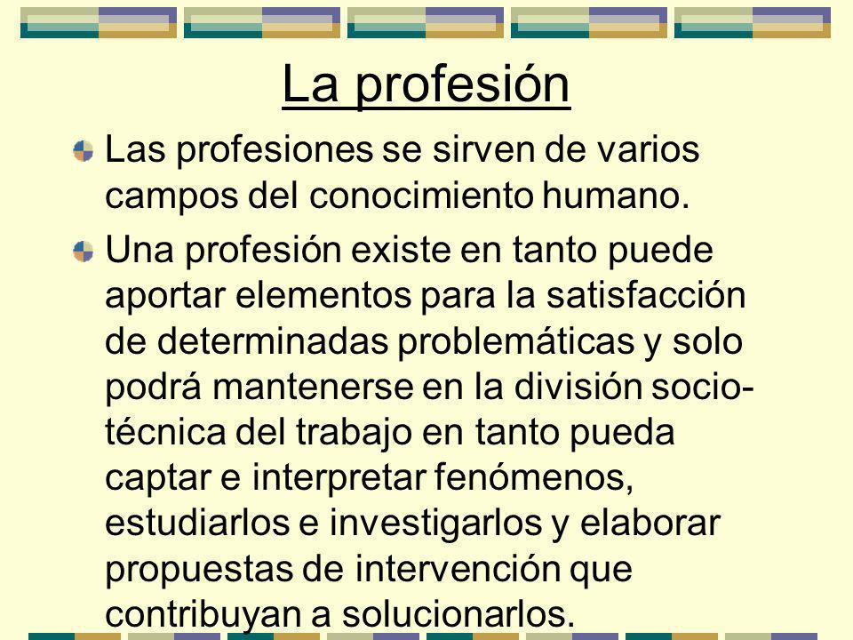 La profesión Las profesiones se sirven de varios campos del conocimiento humano.