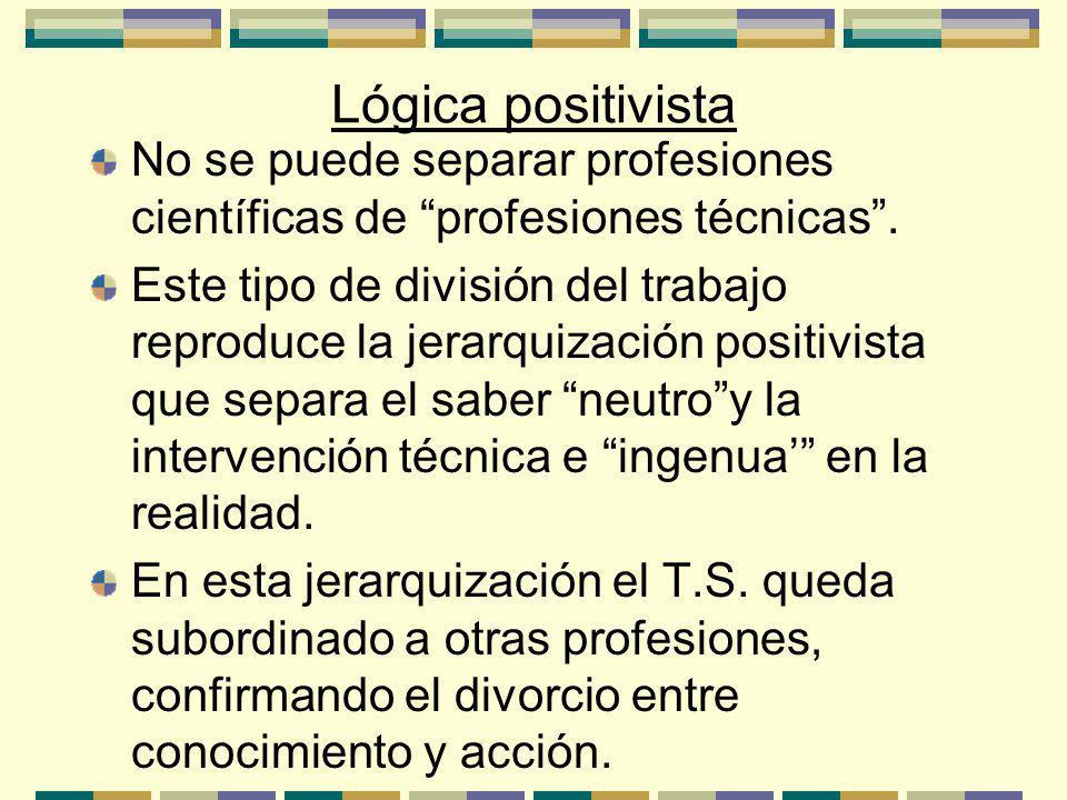 Lógica positivista No se puede separar profesiones científicas de profesiones técnicas.
