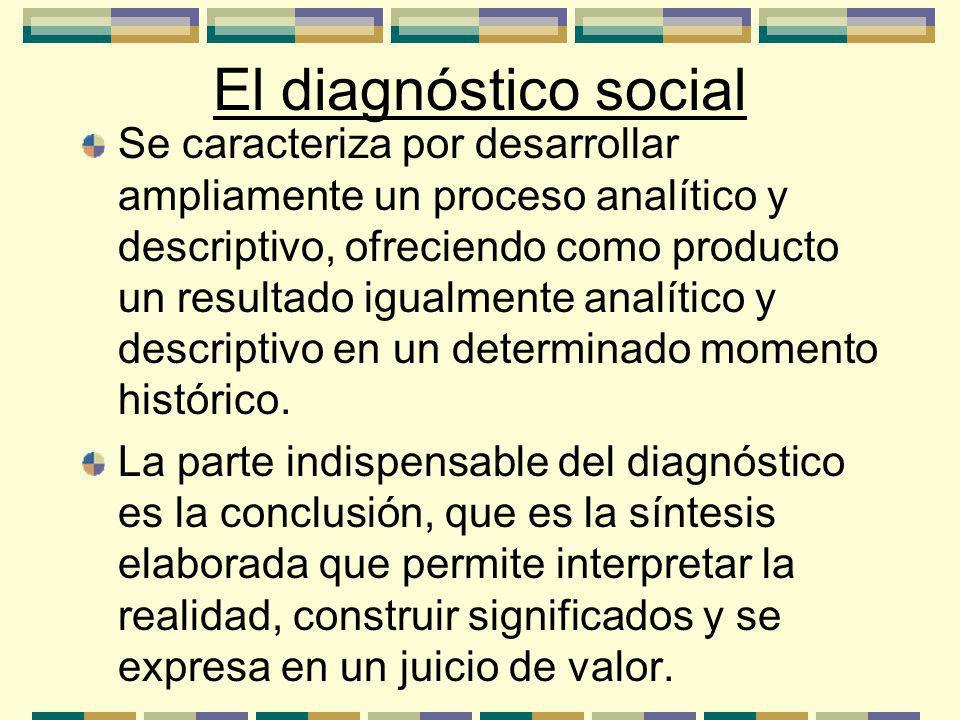 El diagnóstico social Se caracteriza por desarrollar ampliamente un proceso analítico y descriptivo, ofreciendo como producto un resultado igualmente analítico y descriptivo en un determinado momento histórico.