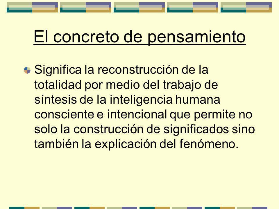 El concreto de pensamiento Significa la reconstrucción de la totalidad por medio del trabajo de síntesis de la inteligencia humana consciente e intencional que permite no solo la construcción de significados sino también la explicación del fenómeno.