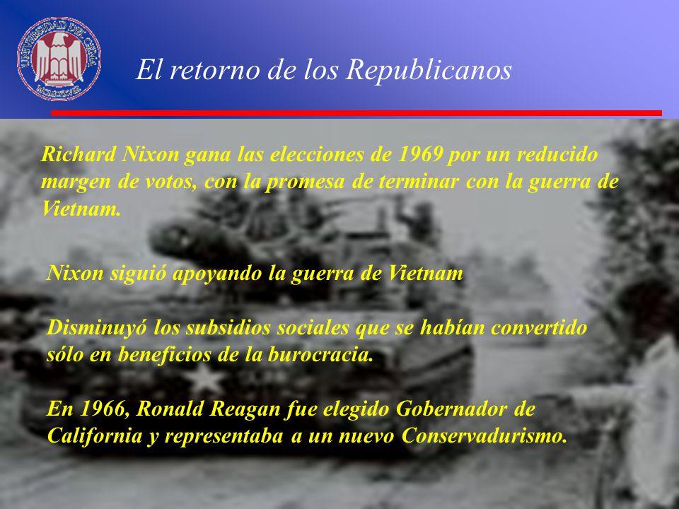 El retorno de los Republicanos Richard Nixon gana las elecciones de 1969 por un reducido margen de votos, con la promesa de terminar con la guerra de