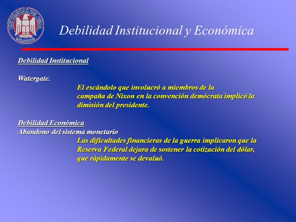 Debilidad Institucional y Económica Debilidad Institucional Watergate. El escándolo que involucró a miembros de la campaña de Nixon en la convención d