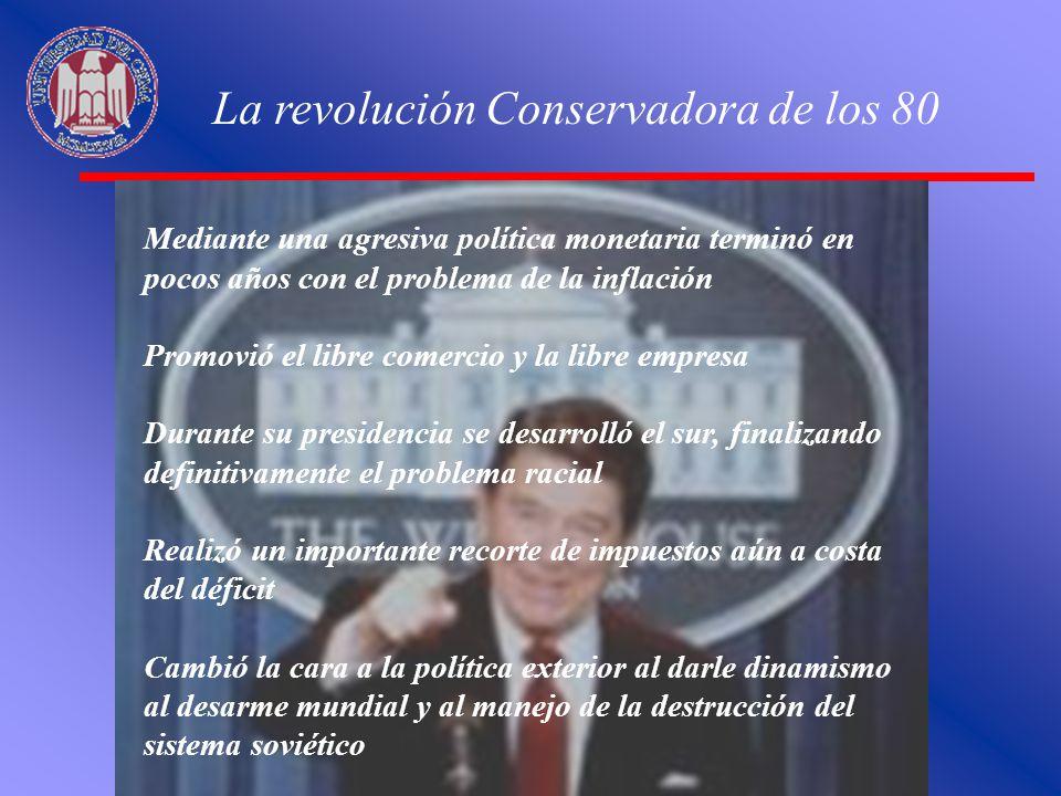 La revolución Conservadora de los 80 Mediante una agresiva política monetaria terminó en pocos años con el problema de la inflación Promovió el libre