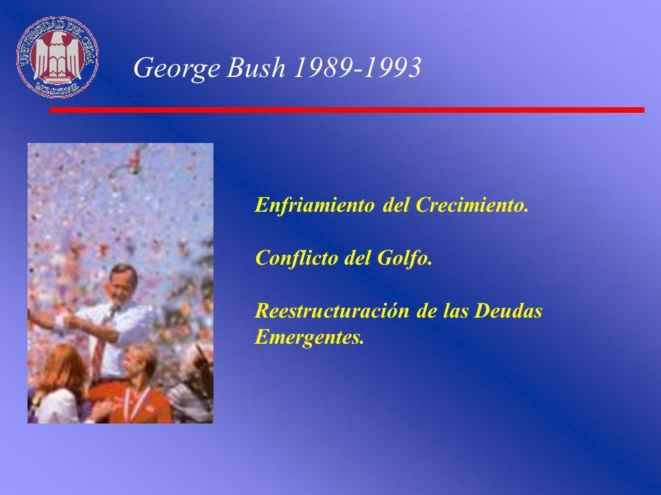 George Bush 1989-1993 Enfriamiento del Crecimiento. Conflicto del Golfo. Reestructuración de las Deudas Emergentes.