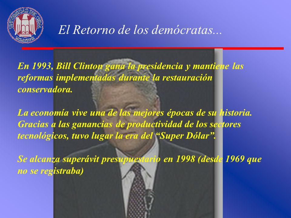 El Retorno de los demócratas... En 1993, Bill Clinton gana la presidencia y mantiene las reformas implementadas durante la restauración conservadora.