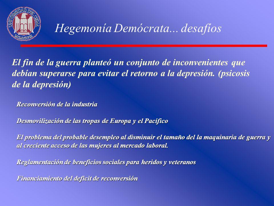 Hegemonía Demócrata... desafíos El fin de la guerra planteó un conjunto de inconvenientes que debían superarse para evitar el retorno a la depresión.