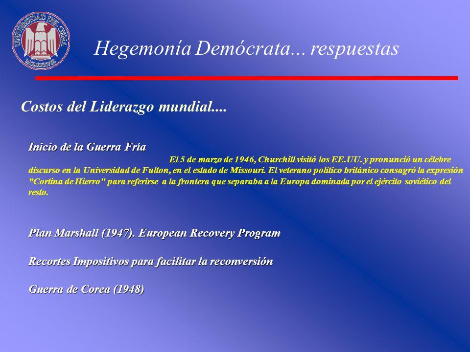 Hegemonía Demócrata... respuestas Costos del Liderazgo mundial.... Inicio de la Guerra Fría El 5 de marzo de 1946, Churchill visitó los EE.UU. y pronu