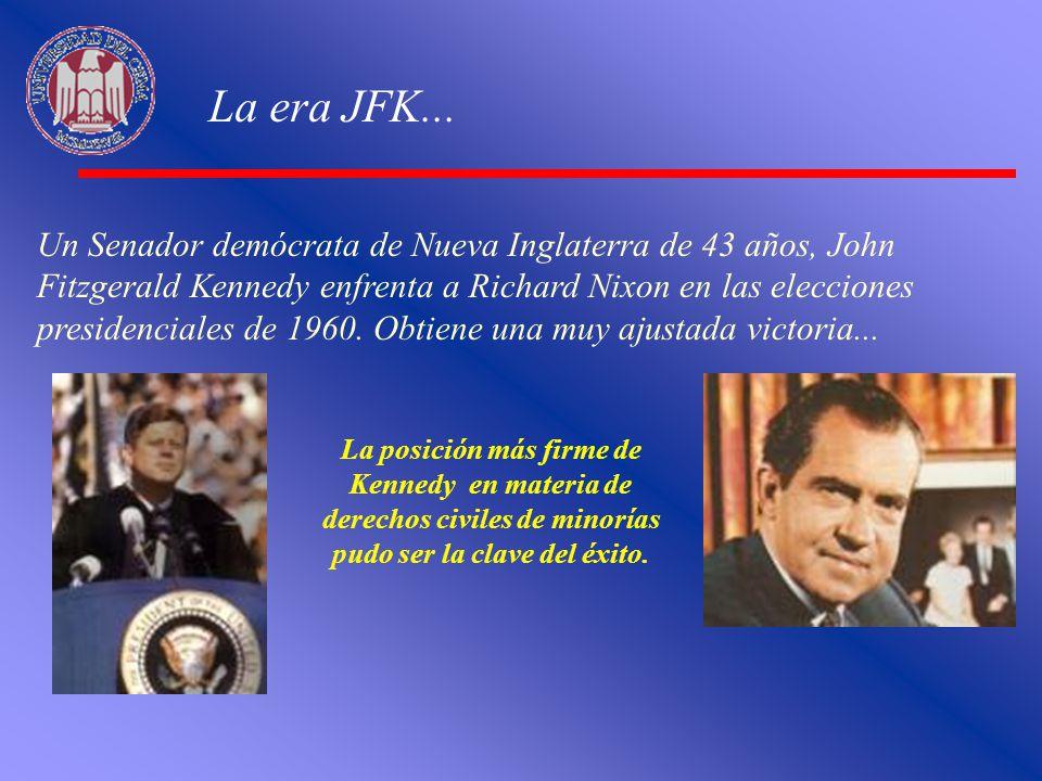 La era JFK... Un Senador demócrata de Nueva Inglaterra de 43 años, John Fitzgerald Kennedy enfrenta a Richard Nixon en las elecciones presidenciales d