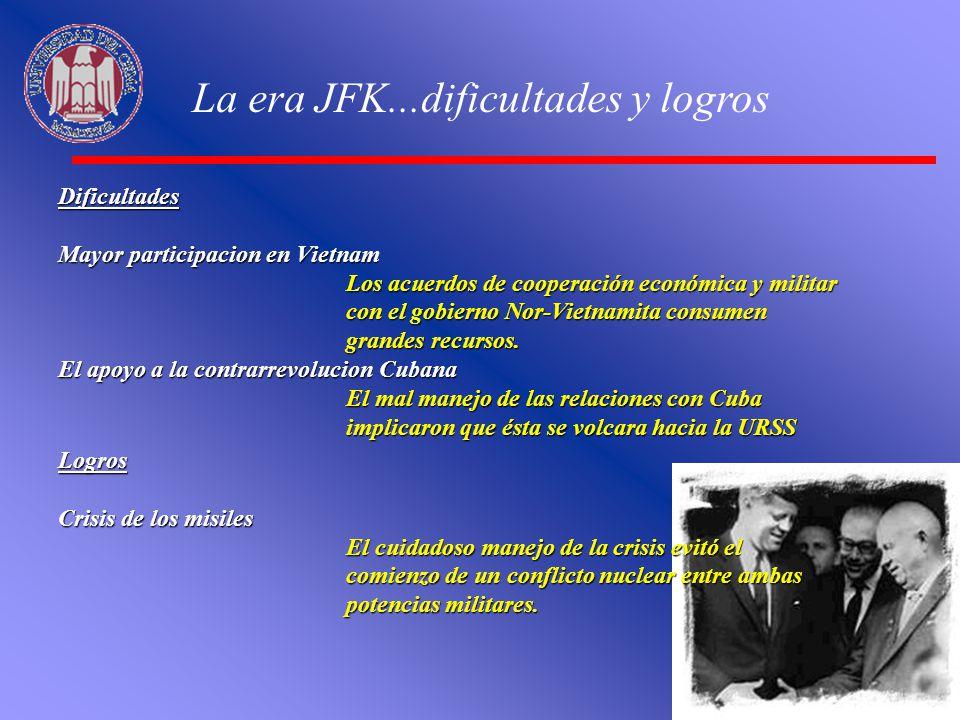 La era JFK...dificultades y logros Dificultades Mayor participacion en Vietnam Los acuerdos de cooperación económica y militar con el gobierno Nor-Vie