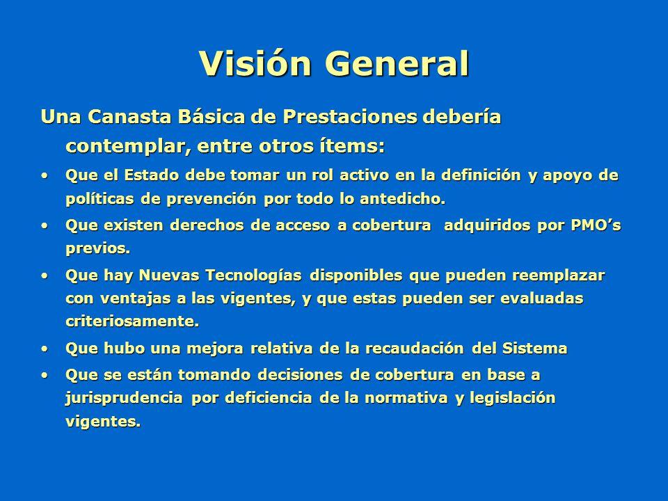 Visión General Una Canasta Básica de Prestaciones debería contemplar, entre otros ítems: Que el Estado debe tomar un rol activo en la definición y apo