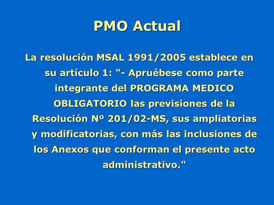 La resolución MSAL 1991/2005 establece en su artículo 1: