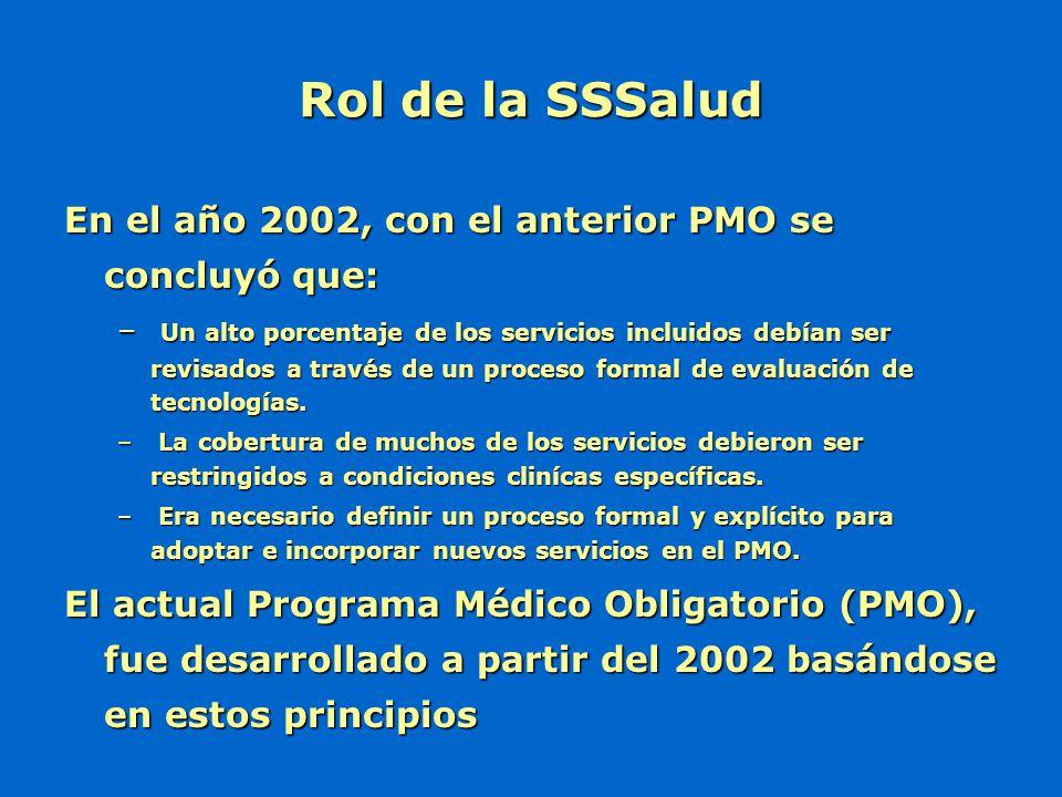 Rol de la SSSalud En el año 2002, con el anterior PMO se concluyó que: – Un alto porcentaje de los servicios incluidos debían ser revisados a través d