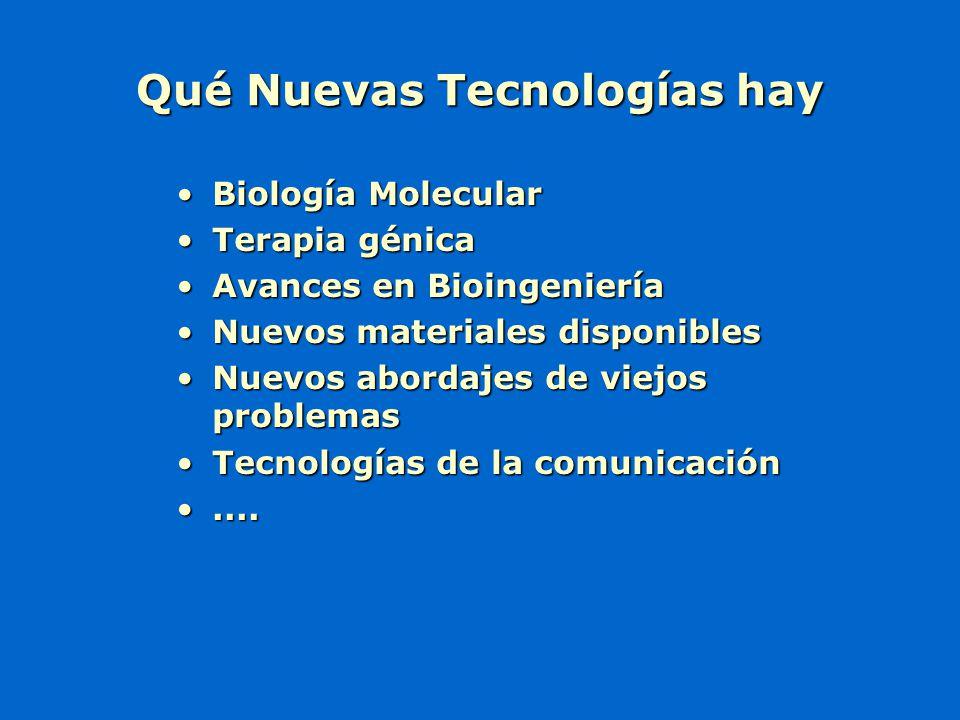 Qué Nuevas Tecnologías hay Biología MolecularBiología Molecular Terapia génicaTerapia génica Avances en BioingenieríaAvances en Bioingeniería Nuevos m