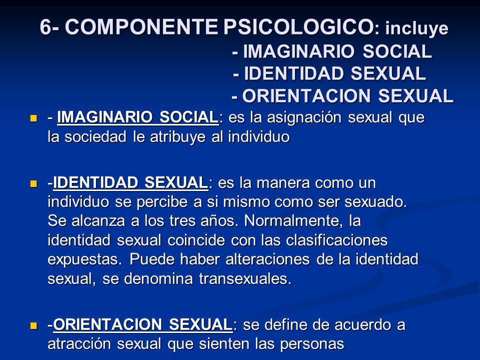 6- COMPONENTE PSICOLOGICO : incluye - IMAGINARIO SOCIAL - IDENTIDAD SEXUAL - ORIENTACION SEXUAL - IMAGINARIO SOCIAL: es la asignación sexual que la sociedad le atribuye al individuo - IMAGINARIO SOCIAL: es la asignación sexual que la sociedad le atribuye al individuo -IDENTIDAD SEXUAL: es la manera como un individuo se percibe a si mismo como ser sexuado.
