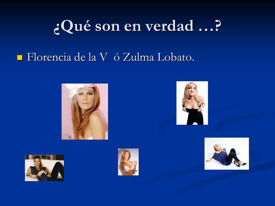 ¿Qué son en verdad …? Florencia de la V ó Zulma Lobato. Florencia de la V ó Zulma Lobato.