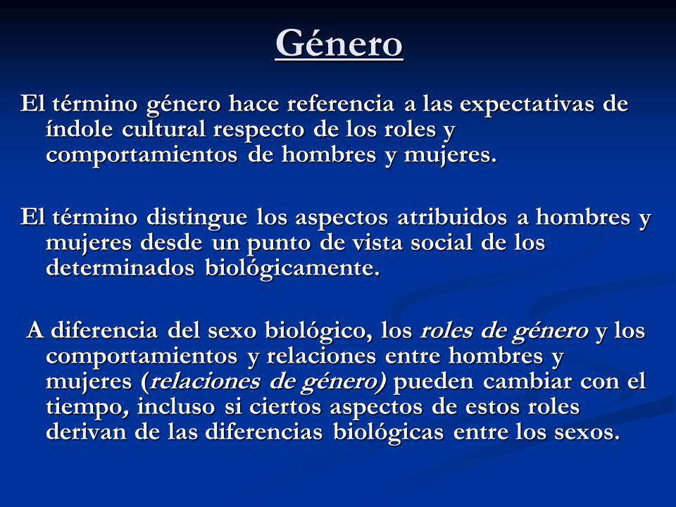 Género El término género hace referencia a las expectativas de índole cultural respecto de los roles y comportamientos de hombres y mujeres. El términ