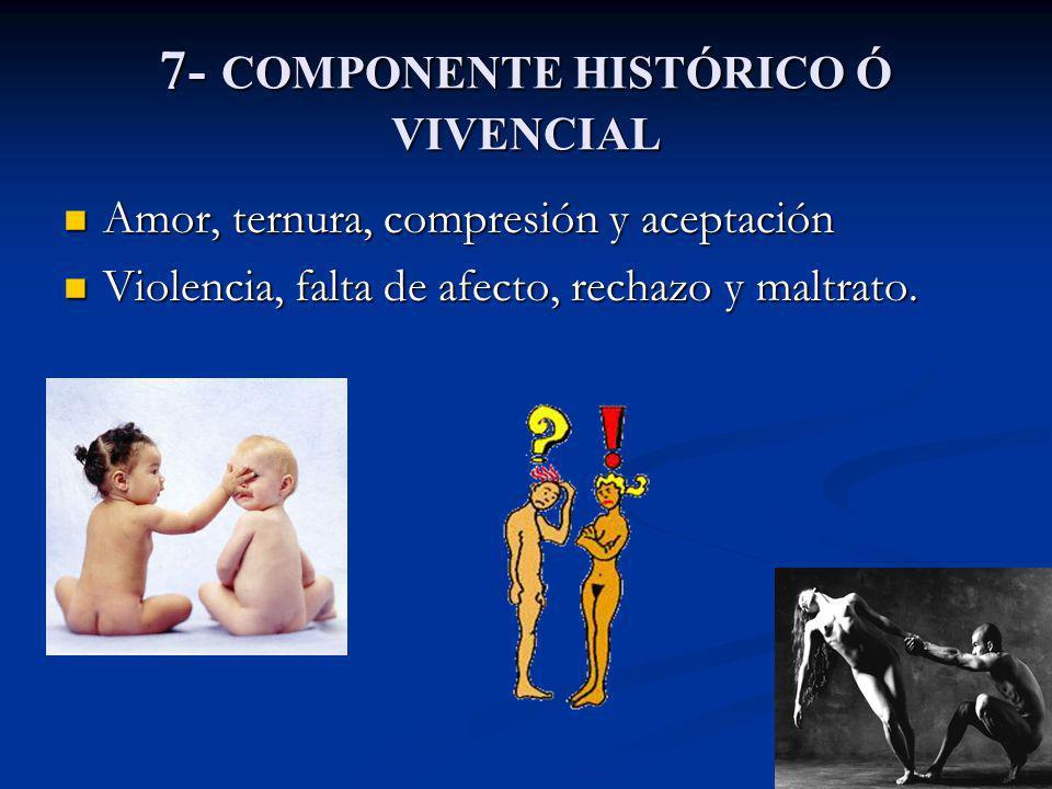 7- COMPONENTE HISTÓRICO Ó VIVENCIAL Amor, ternura, compresión y aceptación Amor, ternura, compresión y aceptación Violencia, falta de afecto, rechazo