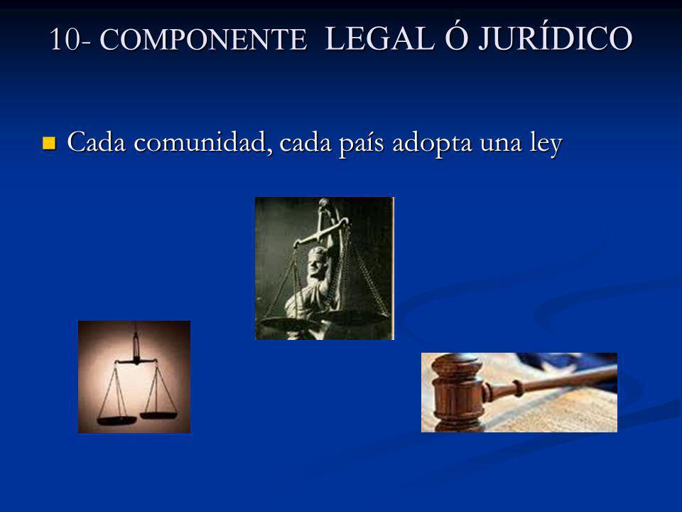 10- COMPONENTE LEGAL Ó JURÍDICO Cada comunidad, cada país adopta una ley Cada comunidad, cada país adopta una ley