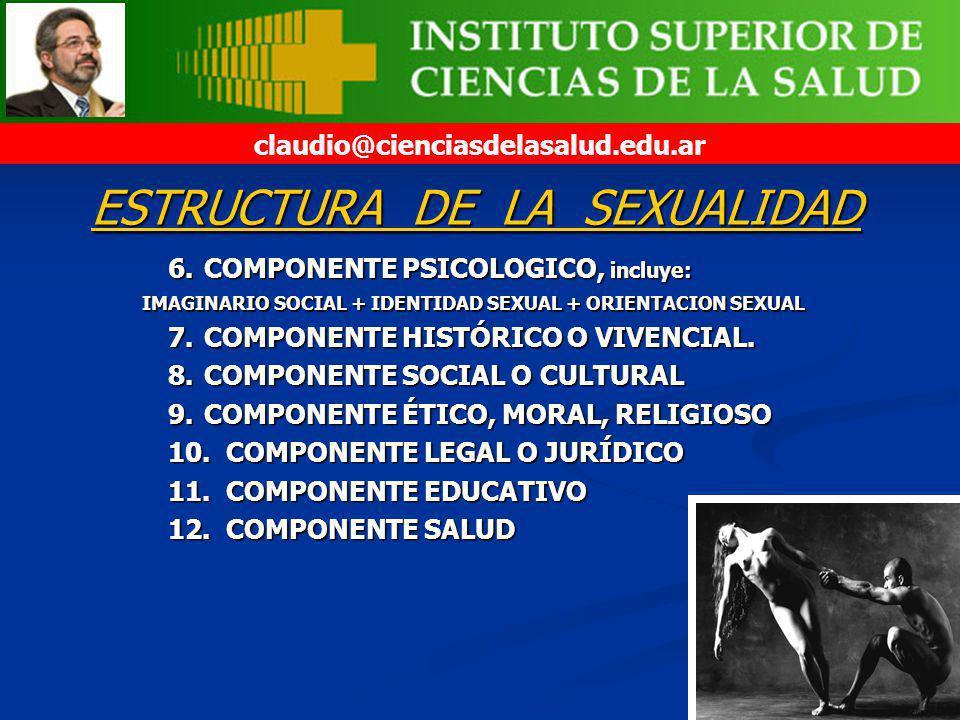 6.COMPONENTE PSICOLOGICO, incluye: 7.COMPONENTE HISTÓRICO O VIVENCIAL. 8.COMPONENTE SOCIAL O CULTURAL 9.COMPONENTE ÉTICO, MORAL, RELIGIOSO 10. COMPONE
