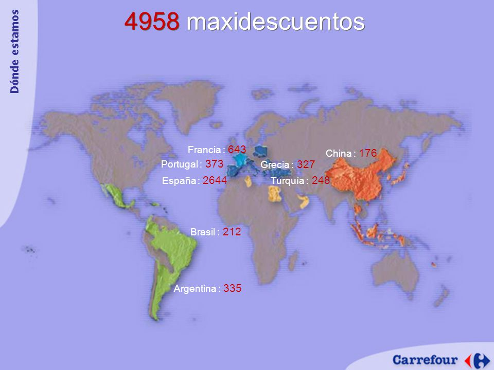 4958 maxidescuentos Argentina : 335 Grecia : 327 Turquía : 248 España : 2644 Francia : 643 Portugal : 373 Brasil : 212 China : 176 Dónde estamos