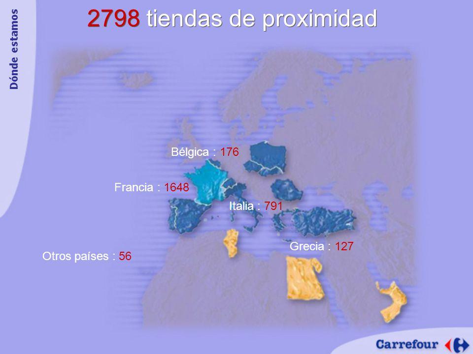 2798 tiendas de proximidad Francia : 1648 Italia : 791 Bélgica : 176 Otros países : 56 Grecia : 127 Dónde estamos