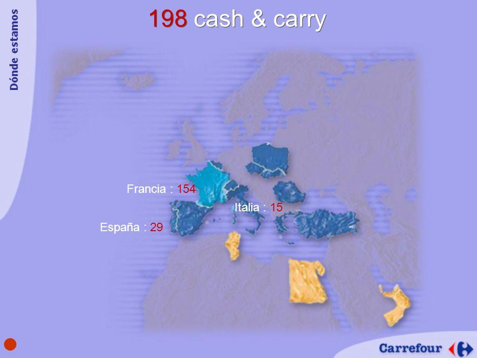 198 cash & carry España : 29 Francia : 154 Italia : 15 Dónde estamos
