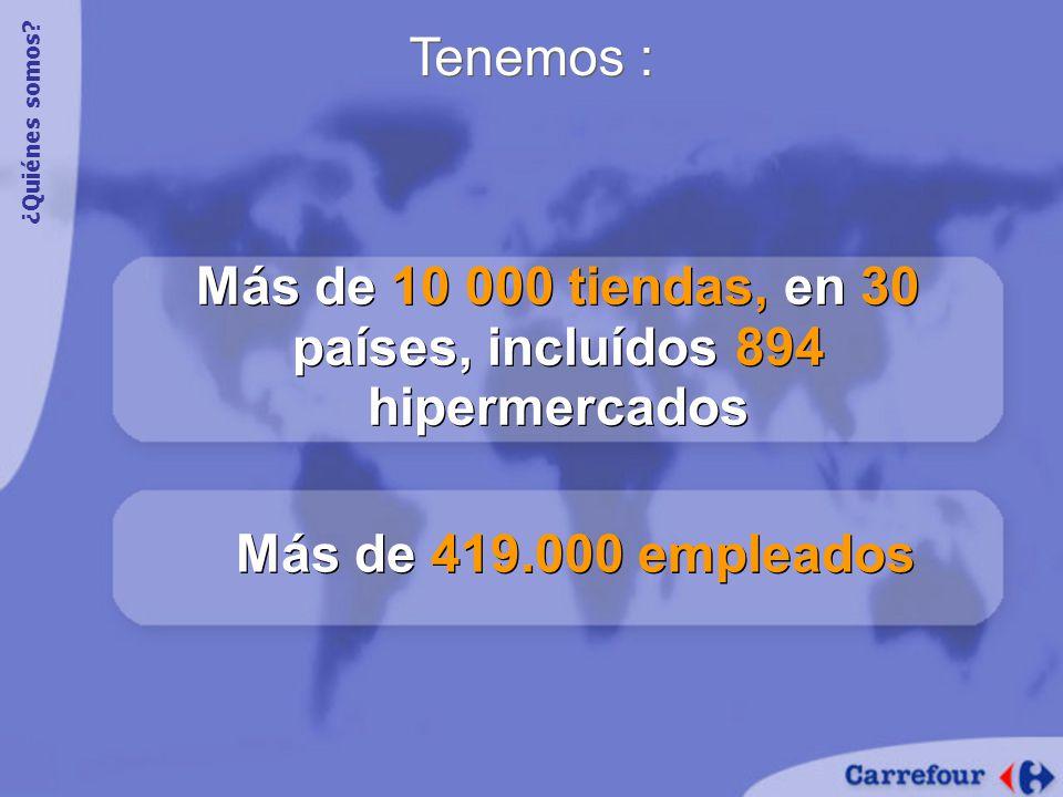 Tenemos : Más de 10 000 tiendas, en 30 países, incluídos 894 hipermercados Más de 419.000 empleados ¿Quiénes somos?