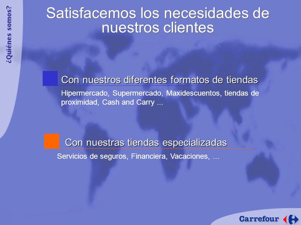 Con nuestros diferentes formatos de tiendas Hipermercado, Supermercado, Maxidescuentos, tiendas de proximidad, Cash and Carry...