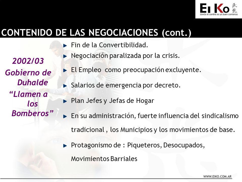 2002/03 Gobierno de Duhalde Llamen a los Bomberos CONTENIDO DE LAS NEGOCIACIONES (cont.) Fin de la Convertibilidad. Negociación paralizada por la cris