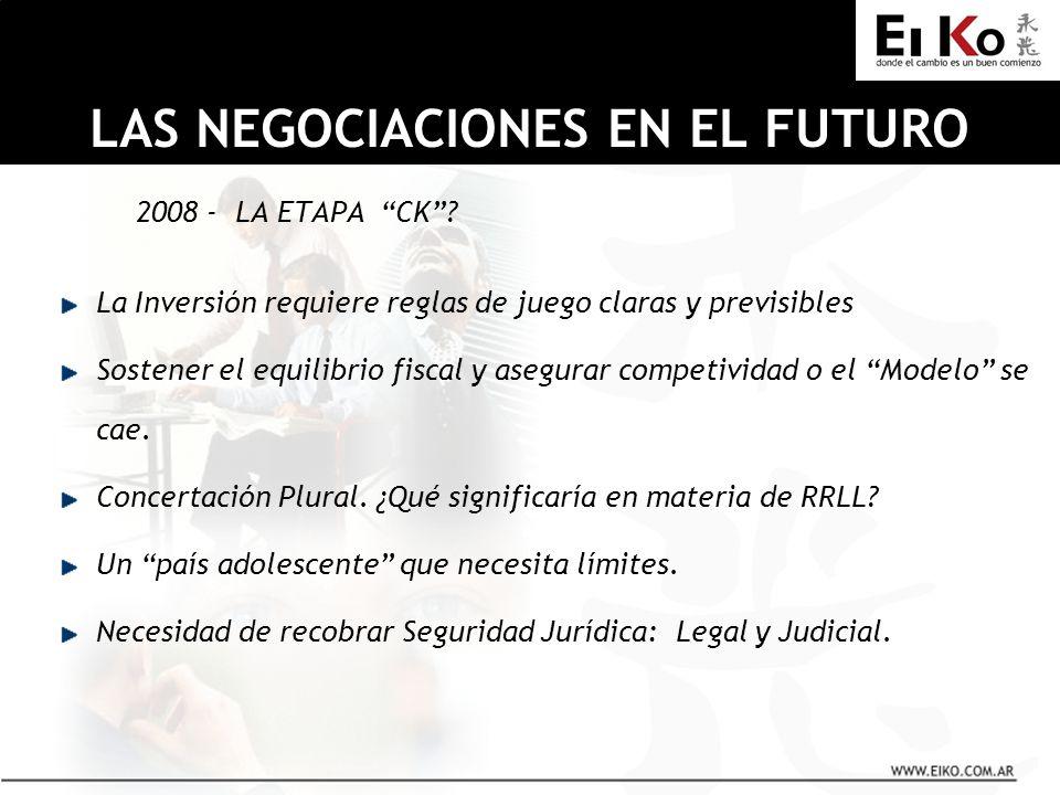 2008 - LA ETAPA CK? La Inversión requiere reglas de juego claras y previsibles Sostener el equilibrio fiscal y asegurar competividad o el Modelo se ca
