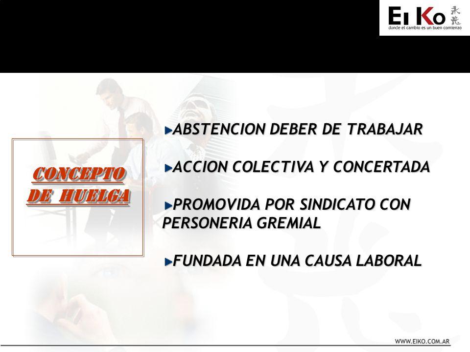 CONCEPTO DE HUELGA CONCEPTO ABSTENCION DEBER DE TRABAJAR ACCION COLECTIVA Y CONCERTADA PROMOVIDA POR SINDICATO CON PERSONERIA GREMIAL FUNDADA EN UNA C
