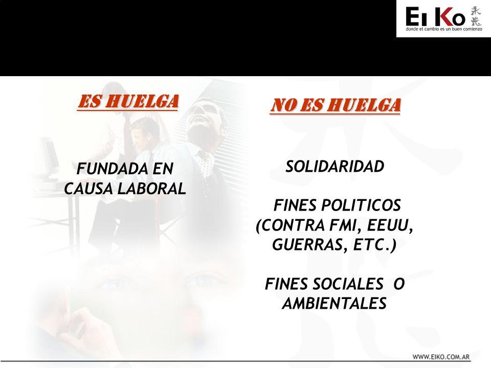 ES HUELGA ES HUELGA FUNDADA EN CAUSA LABORAL NO ES HUELGA SOLIDARIDAD FINES POLITICOS (CONTRA FMI, EEUU, GUERRAS, ETC.) FINES SOCIALES O AMBIENTALES