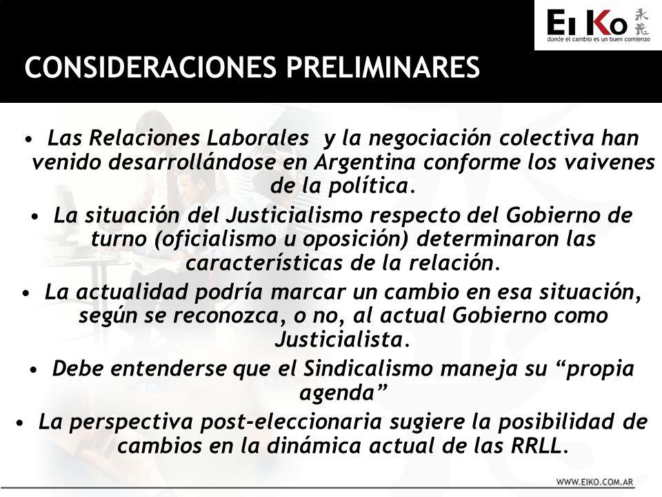 CONSIDERACIONES PRELIMINARES Las Relaciones Laborales y la negociación colectiva han venido desarrollándose en Argentina conforme los vaivenes de la política.