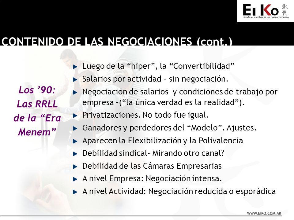 Los 90: Las RRLL de la Era Menem CONTENIDO DE LAS NEGOCIACIONES (cont.) Luego de la hiper, la Convertibilidad Salarios por actividad – sin negociación.