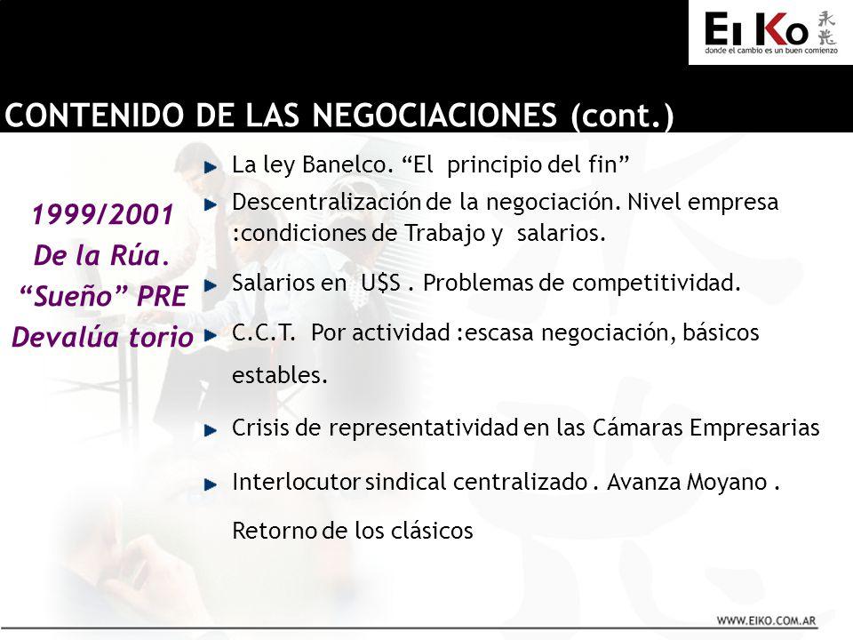 1999/2001 De la Rúa. Sueño PRE Devalúa torio CONTENIDO DE LAS NEGOCIACIONES (cont.) La ley Banelco. El principio del fin Descentralización de la negoc