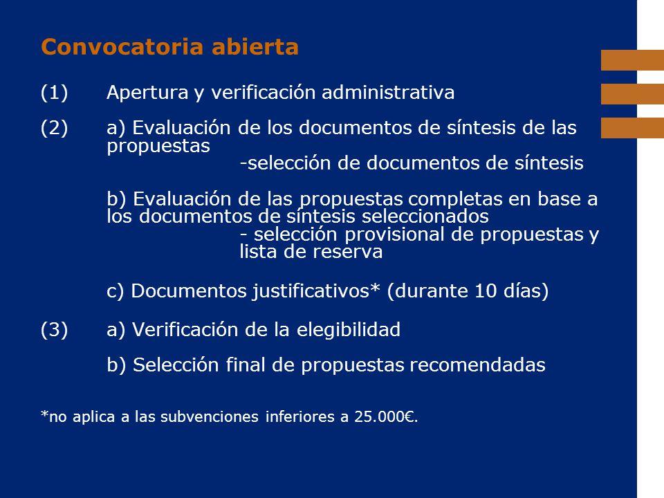 EuropeAid Convocatoria abierta (1) Apertura y verificación administrativa (2)a) Evaluación de los documentos de síntesis de las propuestas -selección