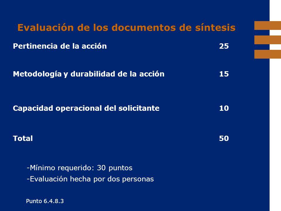 EuropeAid Evaluación de los documentos de síntesis -Mínimo requerido: 30 puntos -Evaluación hecha por dos personas Punto 6.4.8.3 Pertinencia de la acc