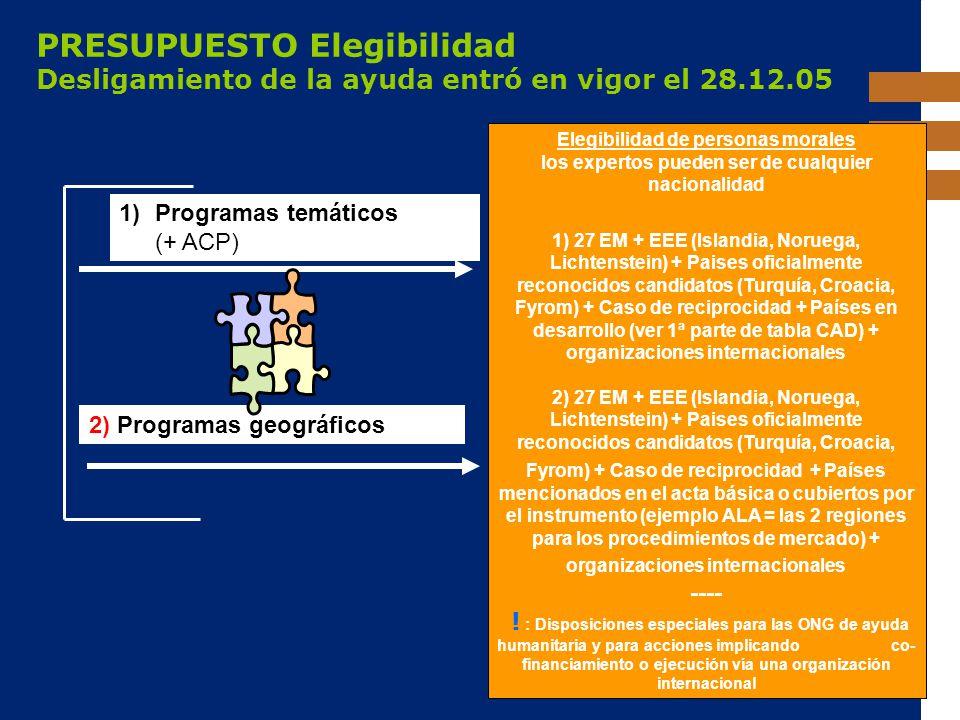 EuropeAid PRESUPUESTO Elegibilidad Desligamiento de la ayuda entró en vigor el 28.12.05 1)Programas temáticos (+ ACP) 2) Programas geográficos Elegibi